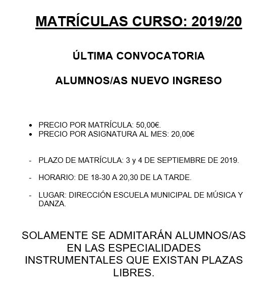 ultima convocatoria curso 2019-20